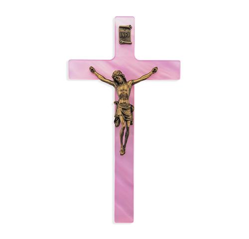 "Pink Pearlized Crucifix, 7"""