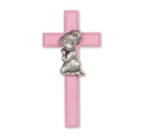 "Pink Wood Cross with Praying Girl, 7"""