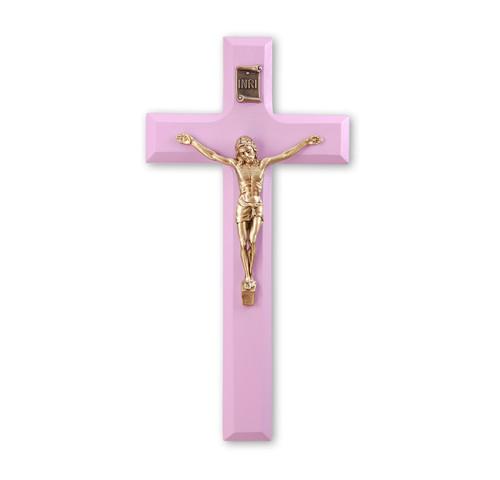 """Pink Wood Crucifix, 7"""""""