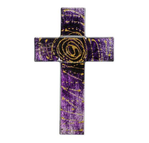 """Purple Glass Cross, 10"""""""