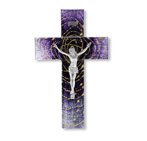 """Purple Glass Crucifix, 10"""""""