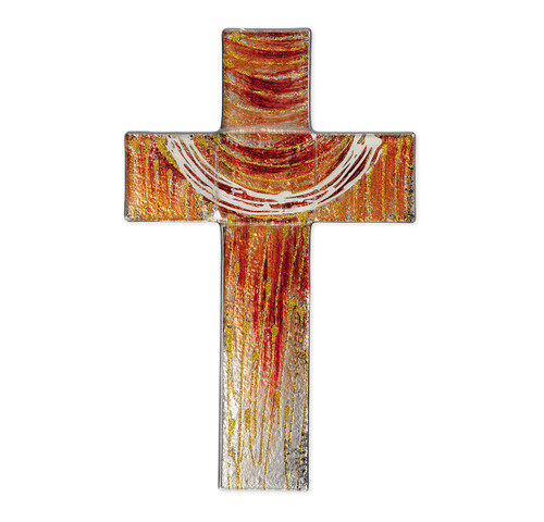 """Red and Gold Glass Cross, 10"""""""