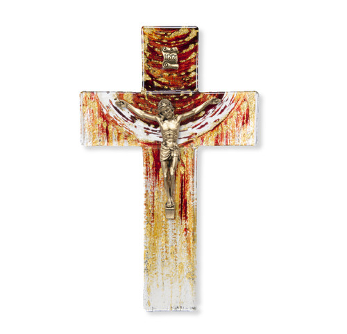 """Red and Gold Glass Cross, 7"""" 