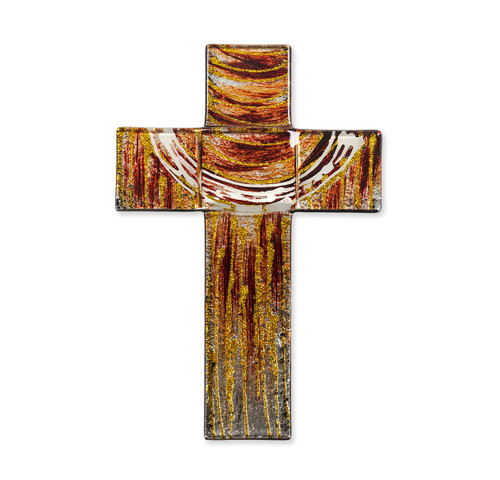 """Red and Gold Glass Cross, 7"""""""