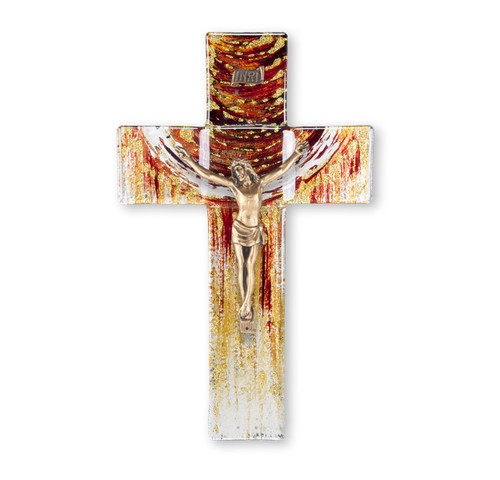 Red and Gold Glass Crucifix, 10"