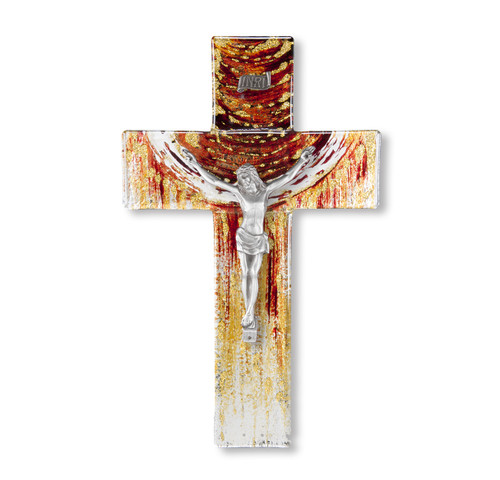 """Red and Gold Glass Crucifix, 10"""""""