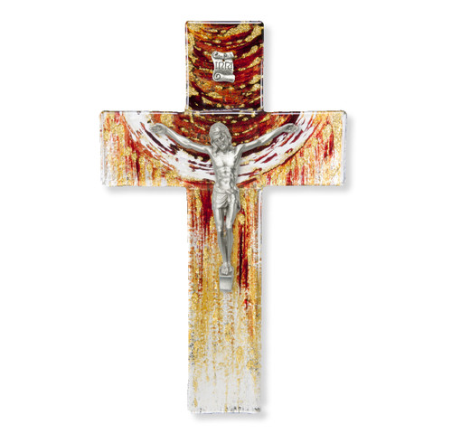 """Red and Gold Glass Crucifix, 7"""" 