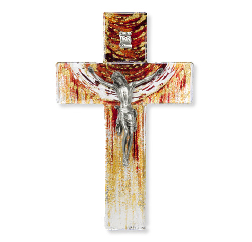 """Red and Gold Glass Crucifix, 7"""""""