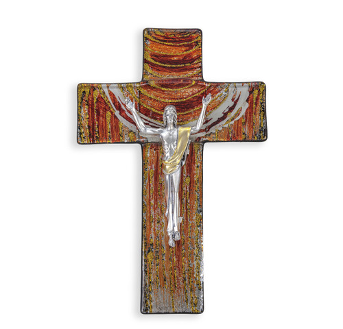 """Red and Gold Glass Risen Cross, 7"""""""