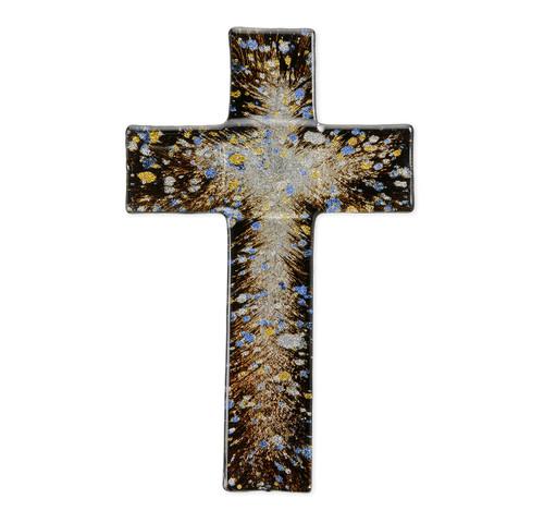 """Rich Brown Glass Cross, 10"""""""