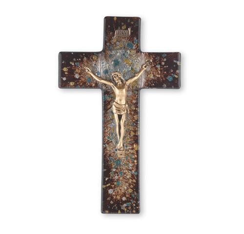 "Rich Brown Glass Crucifix, 10"" | Style A"