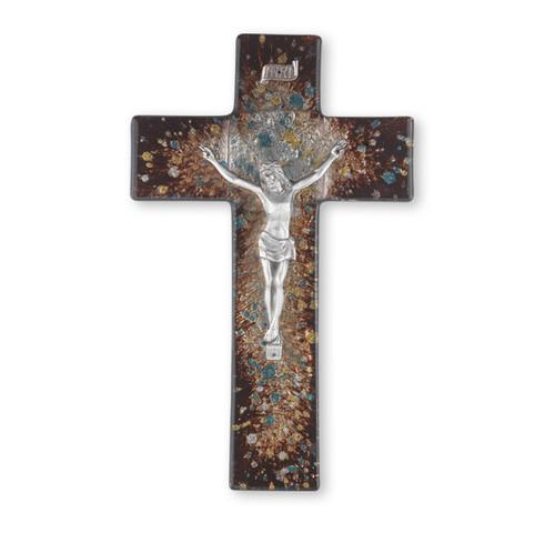 """Rich Brown Glass Crucifix, 10"""""""