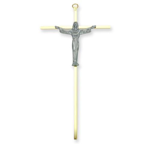 """Risen Christ Brass Metal Cross , 10"""""""