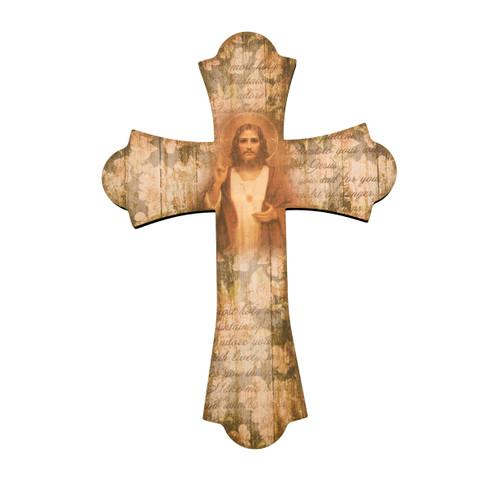 "Sacred Heart of Jesus Wood Cross, 10"""