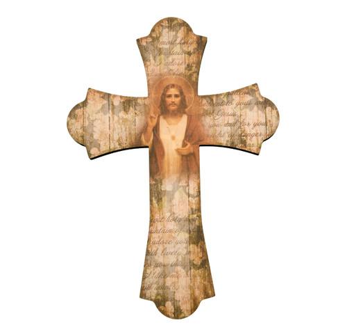 "Sacred Heart of Jesus Wood Cross, 12"""