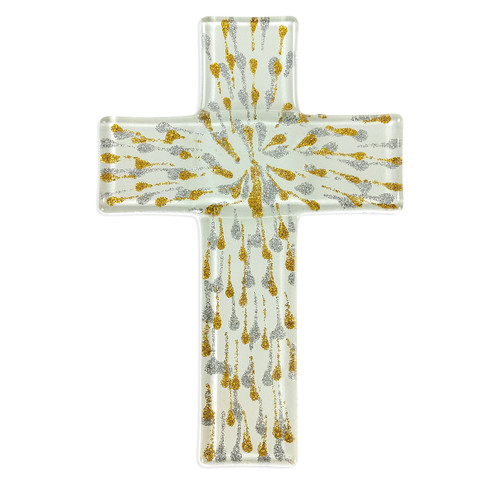 """Silver and Gold Glass Cross, 7"""""""