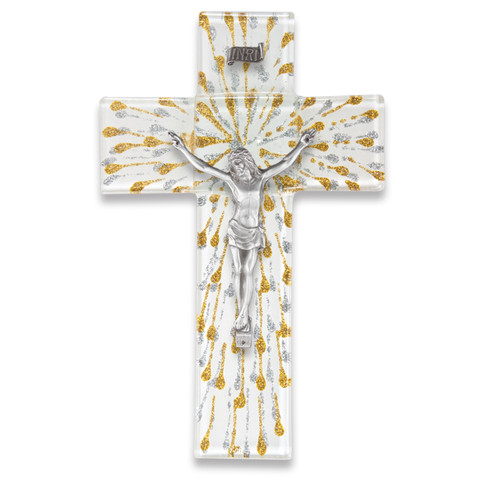"""Silver and Gold Glass Crucifix, 10"""""""