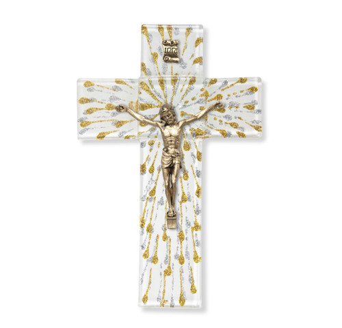 """Silver and Gold Glass Crucifix, 7"""" 