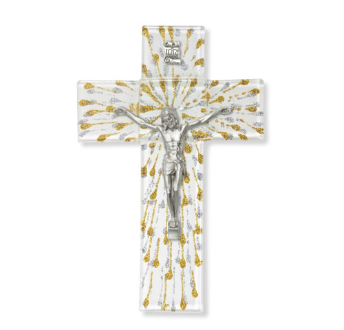 """Silver and Gold Glass Crucifix, 7"""""""