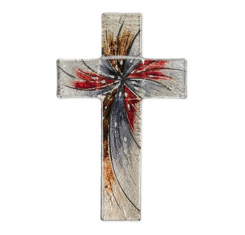"Silver Glass Cross, 10"""