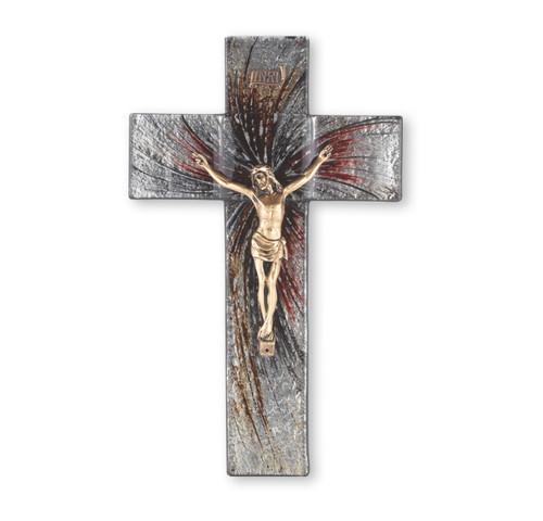 "Silver Glass Crucifix, 10"" | Style A"
