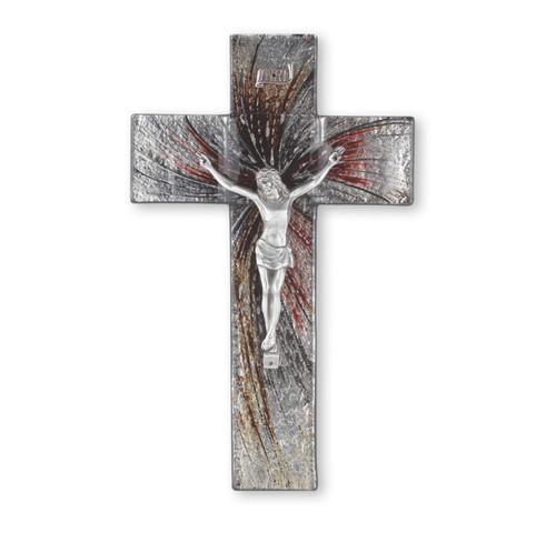 """Silver Glass Crucifix, 10"""""""