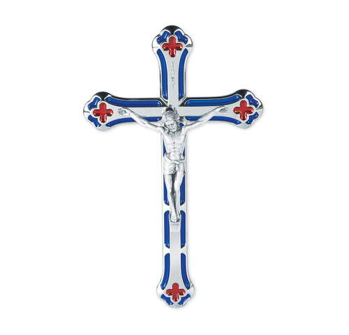 """7"""" Silver Plated Blue and Red Enameled Wall Crucifix"""