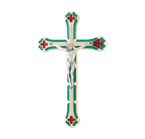 """7"""" Silver-Plated Green and Red Enameled Wall Crucifix 