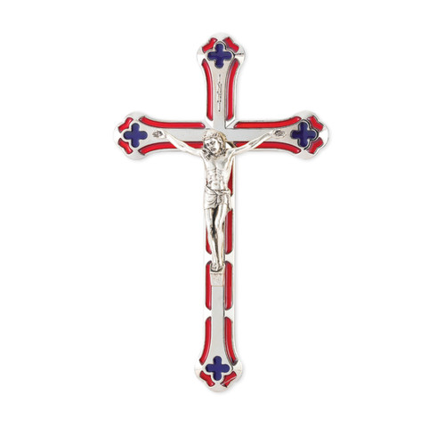 """7"""" Silver-Plated Red Enameled Wall Crucifix 
