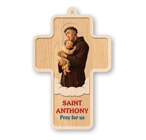 "St. Anthony Laser Engraved Wood Cross, 5"""