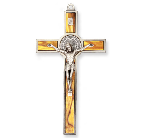 "7"" St. Benedict Medal Crucifix | Silver-Tone Cross"