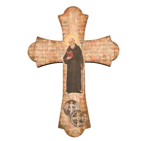 "St. Benedict Wood Cross, 10"""