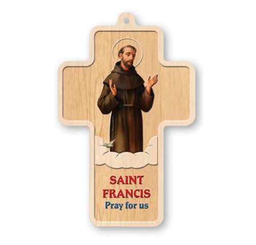 "St. Francis Laser Engraved Wood Cross, 5"""