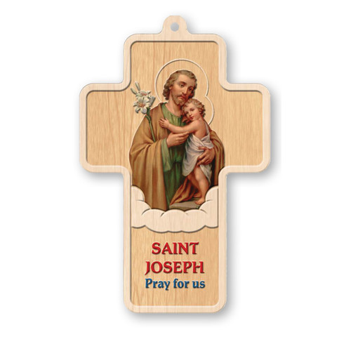"""St. Joseph Laser Engraved Wood Cross, 5"""""""