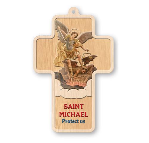 "St. Michael Laser Engraved Wood Cross, 5"""