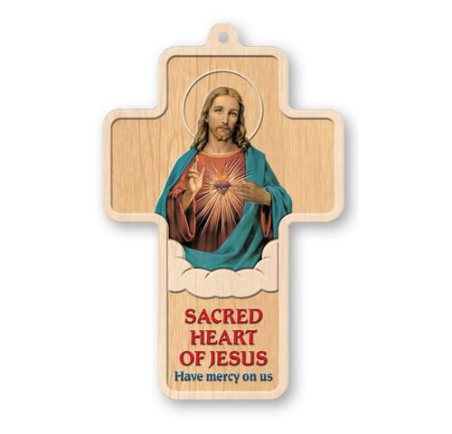 "The Sacred Heart of Jesus Laser Engraved Wood Cross, 5"""