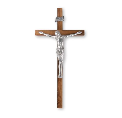 "Walnut Wood Wall Crucifix, 12"""
