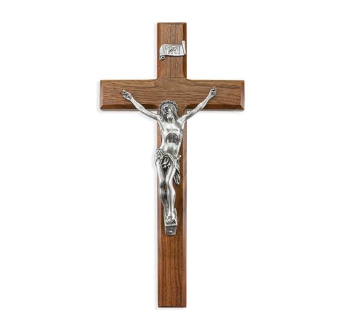 "Walnut Wood Wall Crucifix, 12"" | Style D"