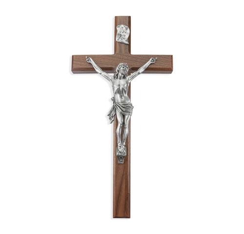 "Walnut Wood Wall Crucifix, 15"""