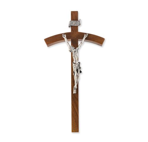 "Walnut Wood Wall Crucifix, 8"""