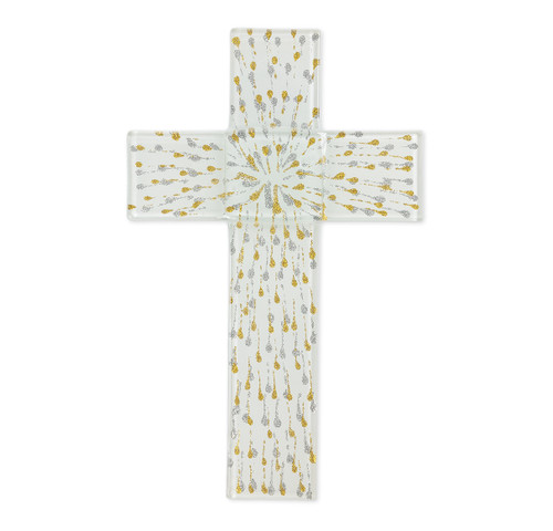 """White and Gold Glass Cross, 10"""""""