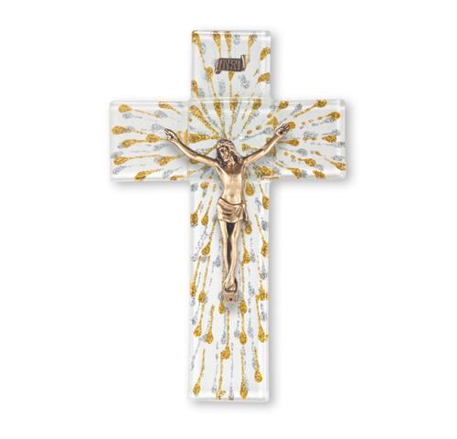 "White and Gold Glass Crucifix, 10"""
