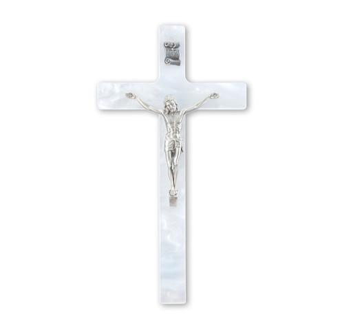 "White Pearlized Crucifix, 7""   Style B"