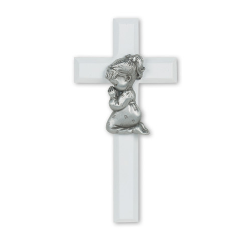 White Wood Cross with Praying Girl, 7""