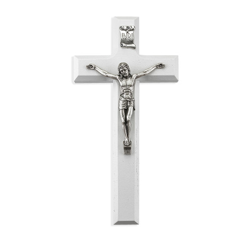 White Wood Crucifix, 7""