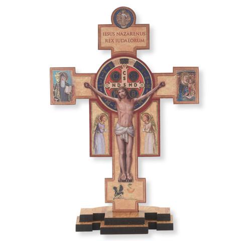 """Wooden St. Benedict Jubilee Standing Crucifix, 14"""""""