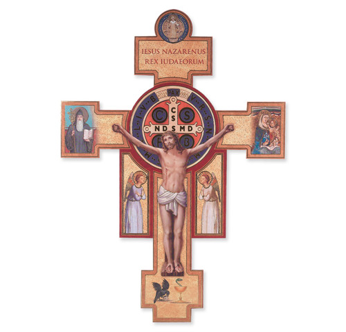 Wooden St. Benedict Jubilee Wall Crucifix, 14""