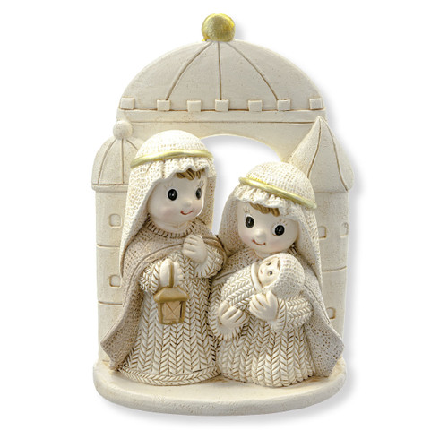 """4.25"""" Yarn Holy Family Nativity Figure with Gold Accents 