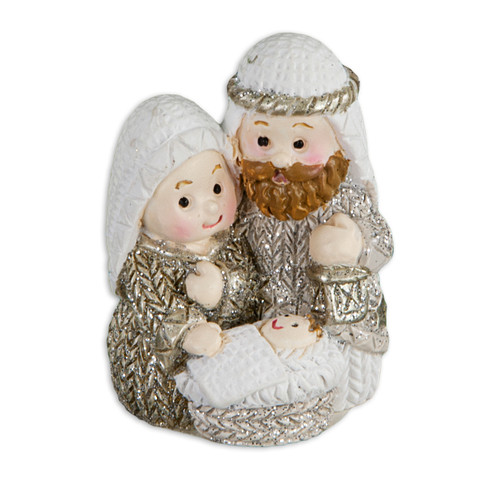 "1.5"" Holy Family Christmas Figure with Gold Accents 