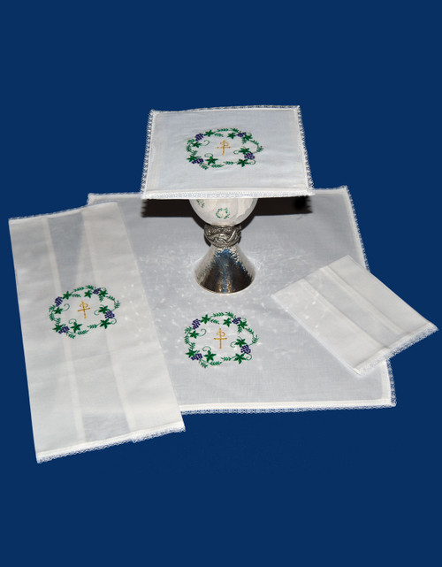 Colored Chi Rho with Grapes & Leaves Altar Linens | Linen/Cotton